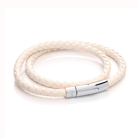 Leather Wrap Around Bracelet - Black Cord & Stainless Steel Clasp with Rose Gold Plating