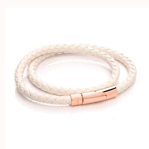 Leather Wrap Around Bracelet - White Cord & Stainless Steel Clasp with Rose Gold Plating