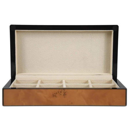 5 Piece Black Leather Watch Box with White Stitching