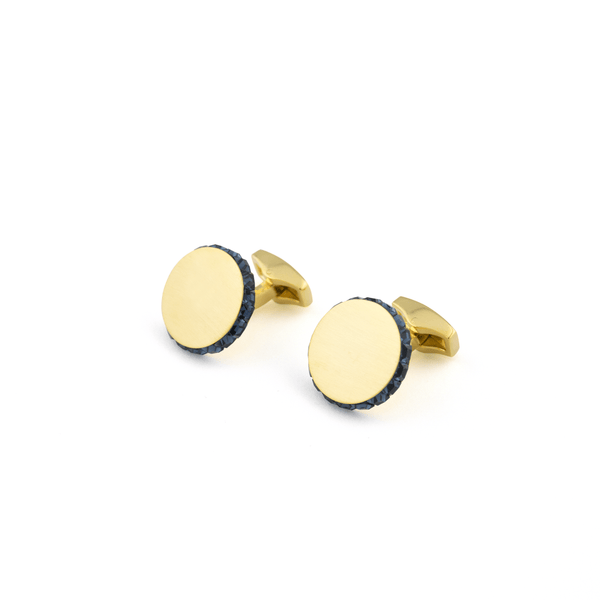 Disc Brushed Finish - Swarovski Edged Cufflink Gold - Blue