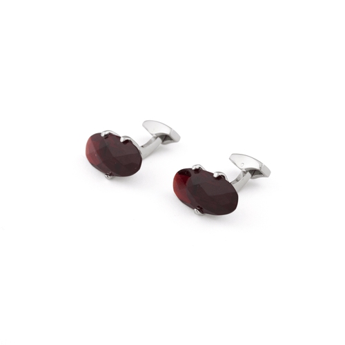 Rhodium Plated Cufflinks - Silver Crystal Claw Set - Red