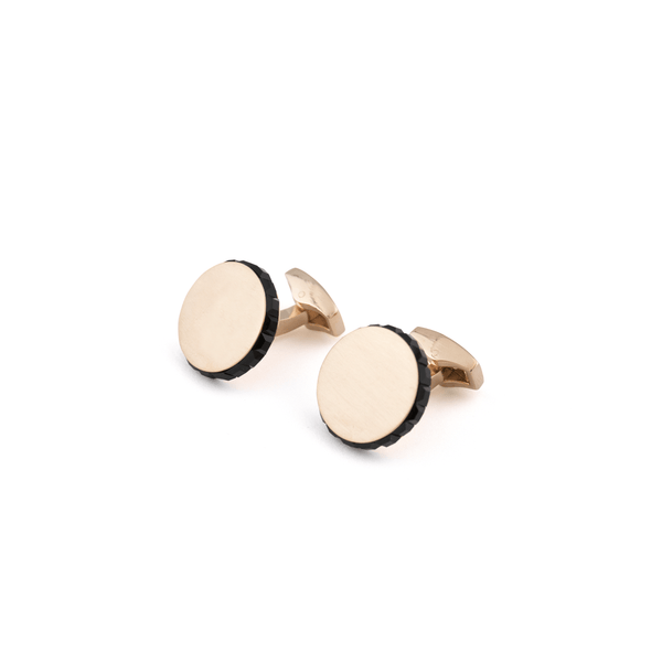 Rose Gold Cufflinks- Swarovski Black Edged Disc
