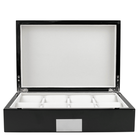 8 Piece Kennett Wooden Collectors Watch Box with Drawer - Gloss Carbon Fibre Finish