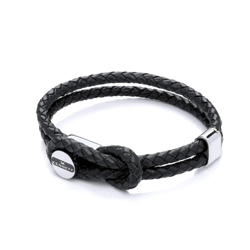 Marlow Bracelet - Black Leather Cord & Stainless Steel Clasp