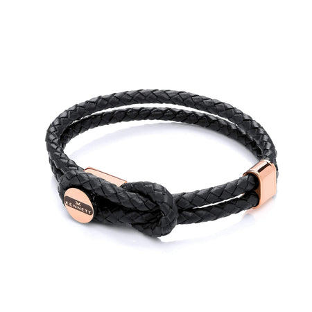 Black Cord & Stainless Steel Clasp - Leather Bracelet