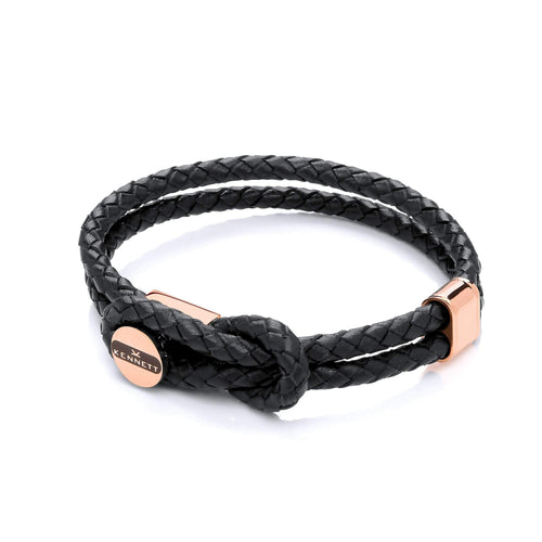 Marlow Bracelet - Black Leather Cord & Stainless Steel Clasp with Rose Gold Plating