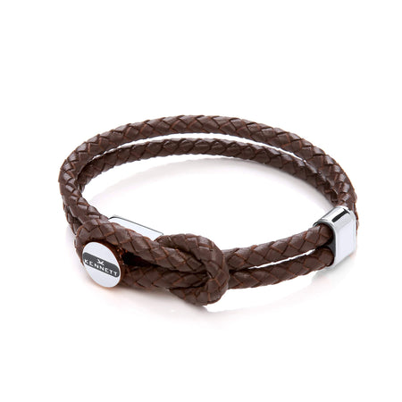 Leather Wrap Ground Bracelet - Brown Cord & Stainless Steel Clasp with Rose Gold Plating