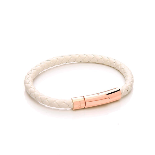 White Cord & Stainless Steel Clasp with Rose Gold Plating - Leather Bracelet
