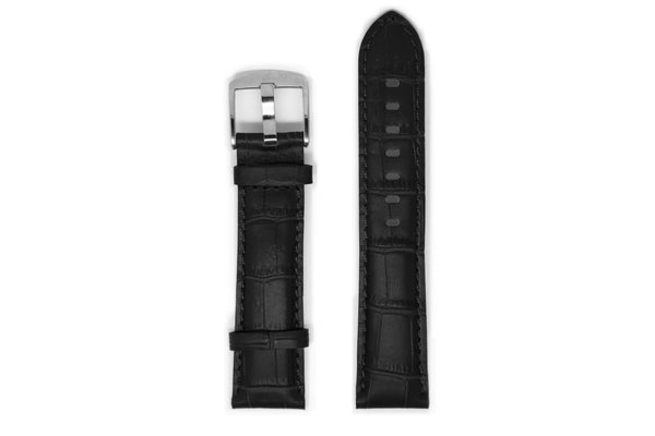 Men's Black Leather Watch Strap - Silver Buckle