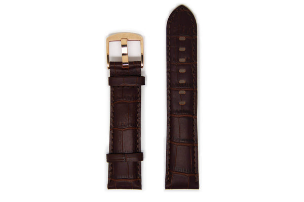 Dark Brown Men's Crocodile Leather Watch Strap - Rose Gold Buckle