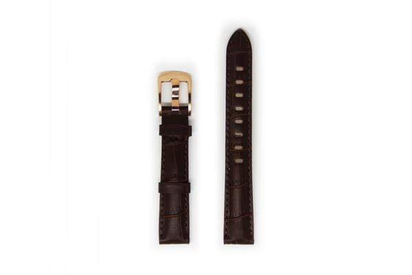 Ladies Crocodile Leather Watch Strap - Rose Gold Buckle