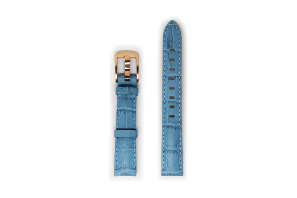 Ladies Light Blue Leather Watch Strap with Gold Buckle