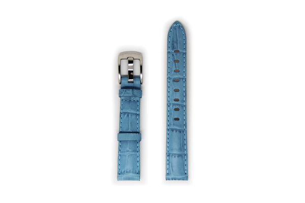 Ladies Light Blue Leather Watch Strap with Silver Buckle