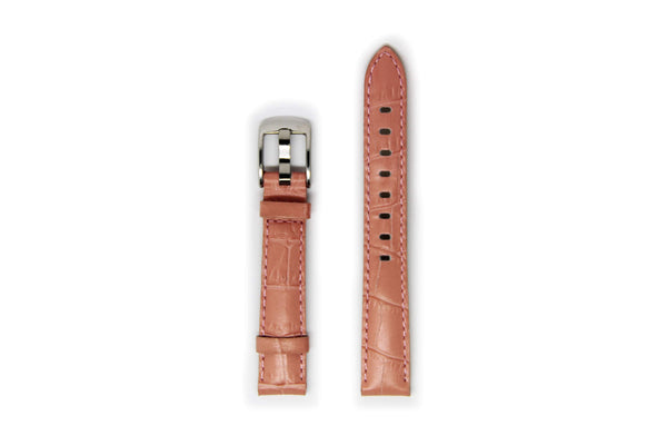 Ladies Light Pink Leather Watch Strap with Silver Buckle