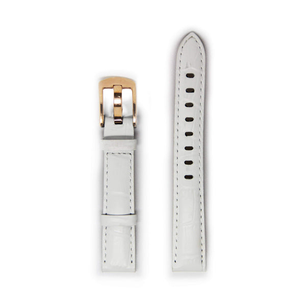Ladies White Leather Watch Strap with Gold Buckle