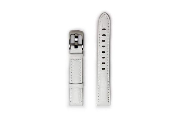 Ladies White Leather Watch Strap with Silver Buckle