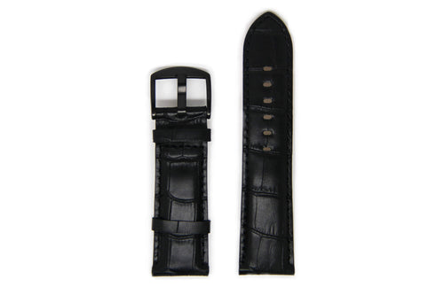 Men's Black Leather Watch Strap - Black Buckle