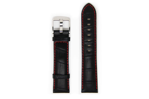 Men's Black Leather Watch Strap with Silver Buckle and Red Stitching