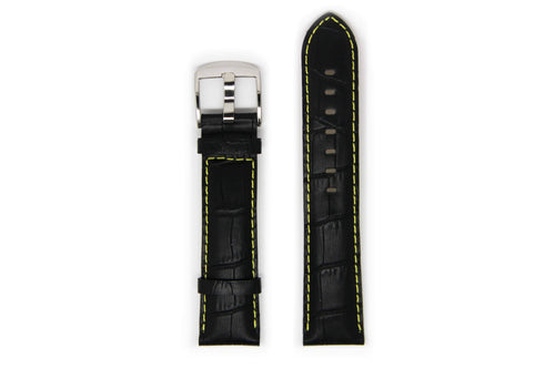 Men's Black Leather Watch Strap with Silver Buckle and Yellow Stitching