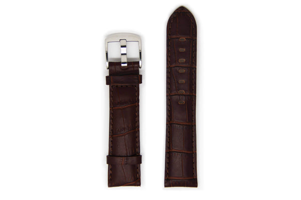 Men's Dark Brown Leather Watch Strap with Silver Buckle