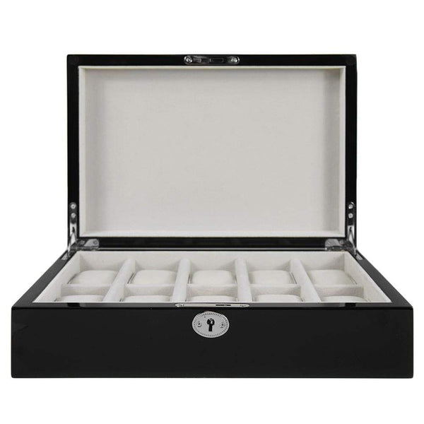 10 Piece Wooden Watch Box - Black Gloss Finish