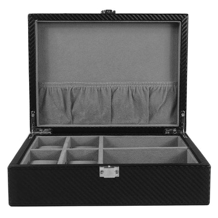 8 Piece Kennett Wooden Cufflink Box - Burlwood Gloss Finish