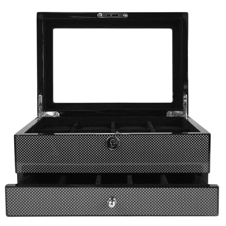 4 Piece Watch Box With Cufflink Storage - Carbon Fibre & Leather Finish