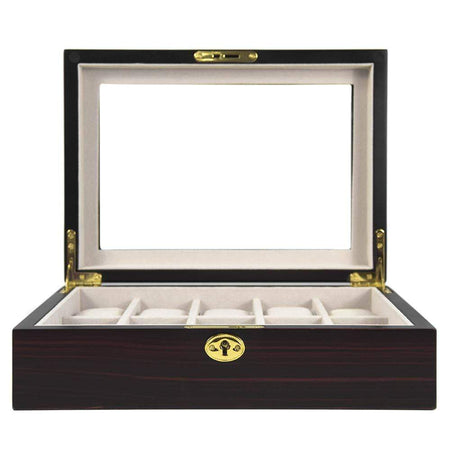 5 Piece Watch Box With Window - Black Leather Finish