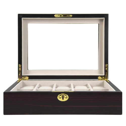 10 Piece Wooden Watch Box - Ebony Matte Finish