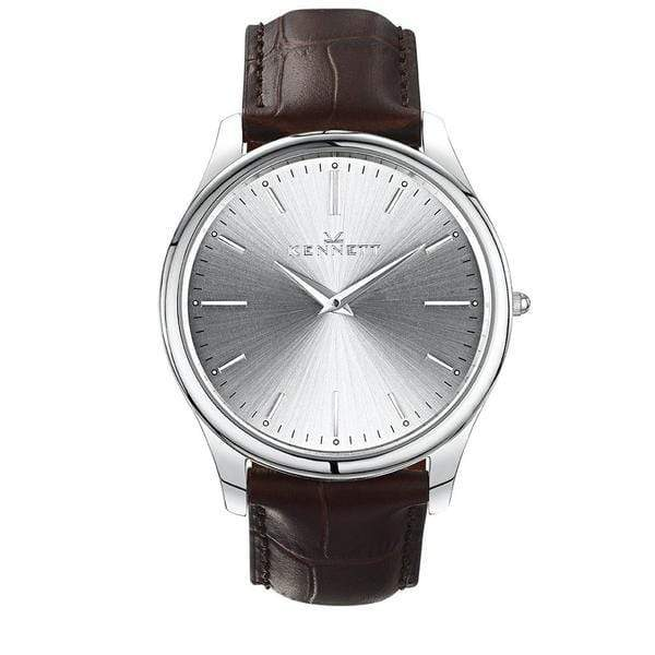 Kennett Mens Watch Kensington model with silver sunray dial and dark brown leather strap