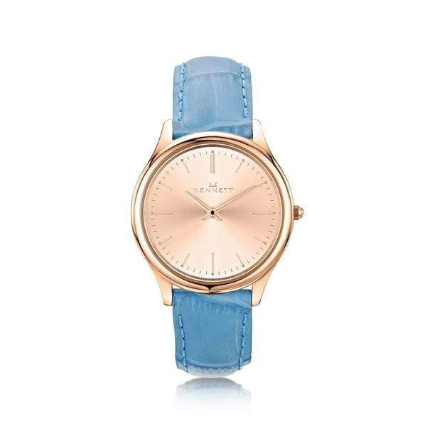 Kennett Ladies watch Rose Gold sky blue leather strap