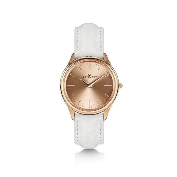White Kennett Ladies timepiece Rose Gold white leather strap