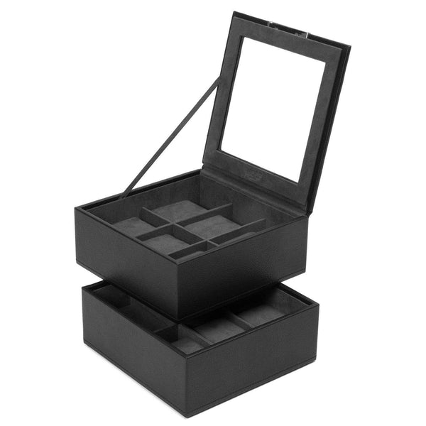 Wolf - Stackable Watch Tray - Set of 2 - 6 Piece Watch Tray Black