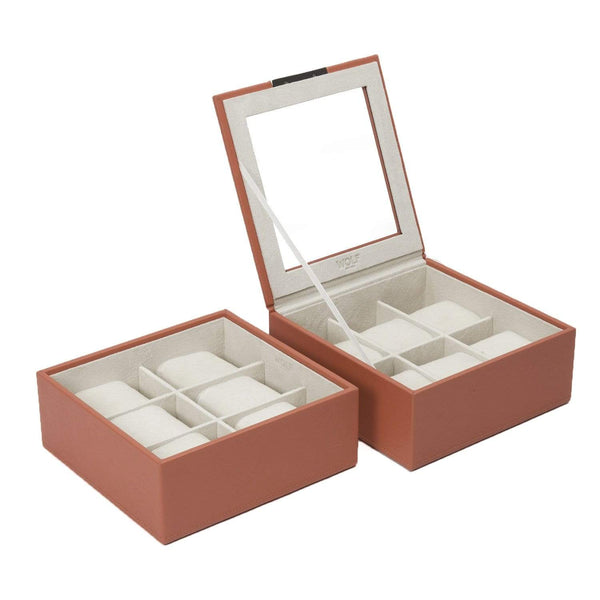 Wolf - Stackable Watch Tray - Set of 2 6 Piece Watch Tray Coral