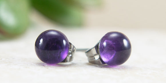 Purple Amethyst & Hypoallergenic Surgical Steel Stud Earrings