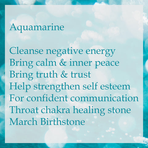 Aquamarine cleanse negative energy bring calm and inner peace crystal meaning on blue background