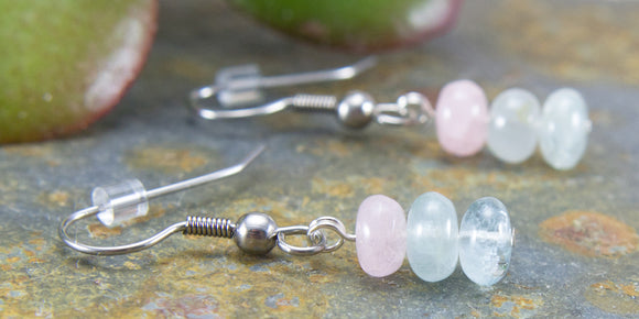 Pastel Pink Morganite & Blue Aquamarine Gemstone Drop Earrings