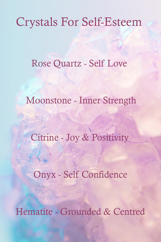 Crystals for self esteem - Rose Quartz, Moonstone, Citrine, Onyx & Hematite