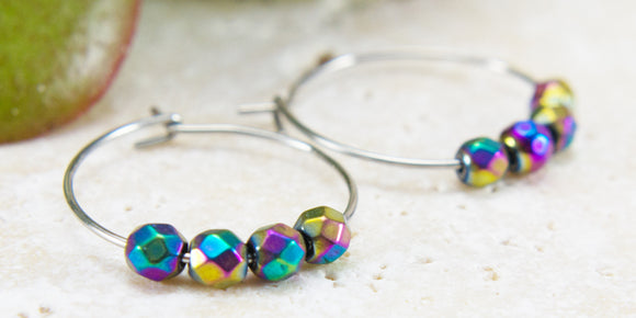 Multi-coloured Gemstone Hoop Earrings Hypoallergenic Surgical Steel
