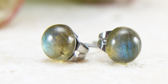 Small Labradorite gemstone hypoallergenic stud earrings