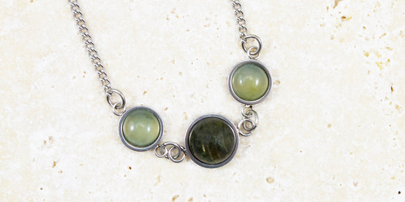 Green Jade & Labradorite gemstone necklace for women