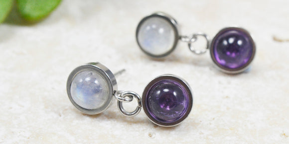 Rainbow Moonstone & Amethyst gemstone drop stud earrings hypoallergenic