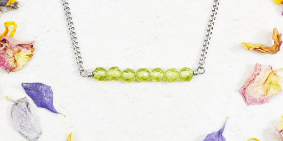 dainty handcrafted green peridot stone necklace