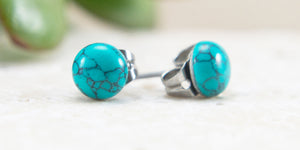 Turquoise gemstone stud earrings hypoallergenic