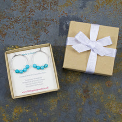 Turquoise hoop earrings in gift box