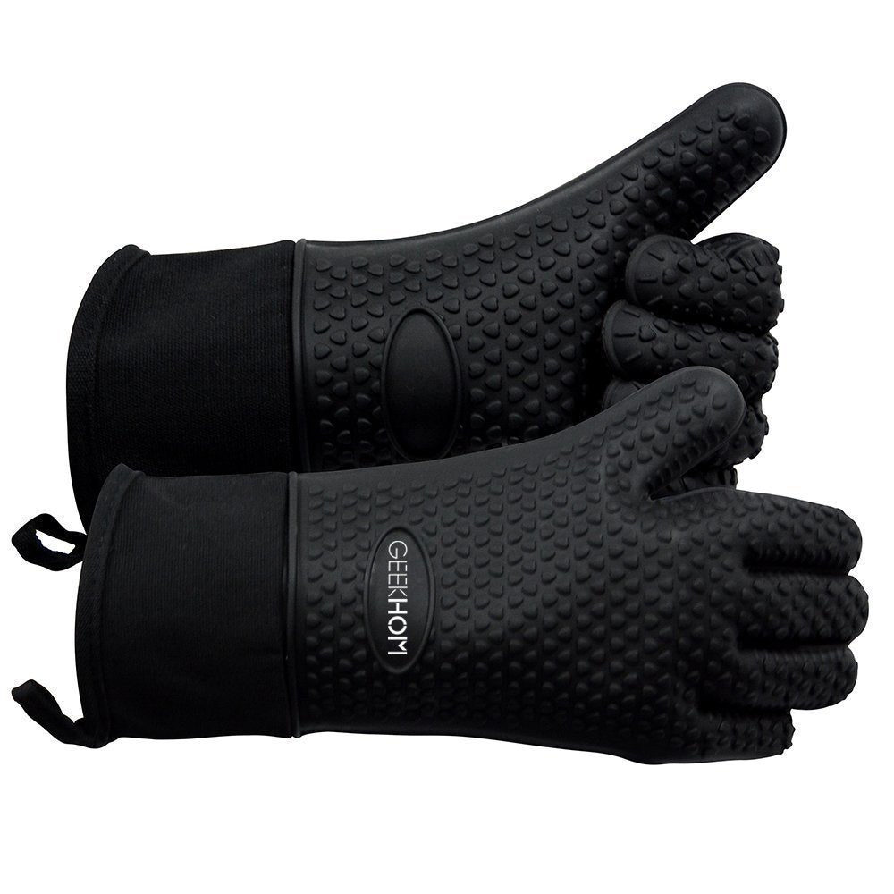 GEEKHOM Oven Mitts, Heat Resistant BBQ Gloves,(black)