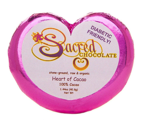 100% Heart of Cacao Sacred Chocolate Heart Bars (12 Pack)