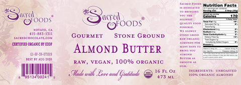 Stone Ground Organic Almond Butter 16 Fl Oz – Sacred Foods