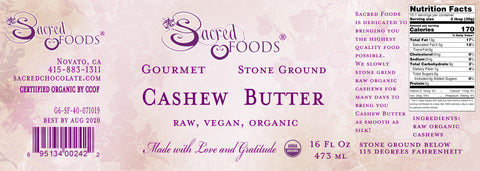 Image of Stone Ground Organic Raw Cashew Butter 16 Fl Oz - Sacred Foods