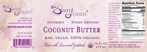 Stone Ground Raw Organic Coconut Butter 16 Fl Oz - Sacred Foods